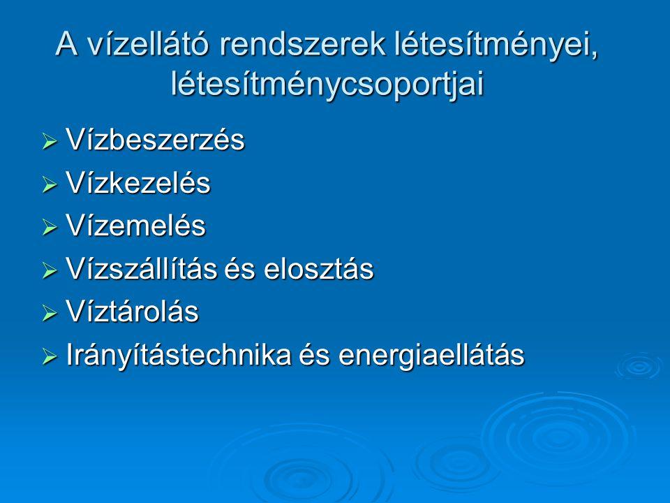 A vízellátó rendszerek létesítményei, létesítménycsoportjai  Vízbeszerzés  Vízkezelés  Vízemelés  Vízszállítás és elosztás  Víztárolás  Irányítástechnika és energiaellátás