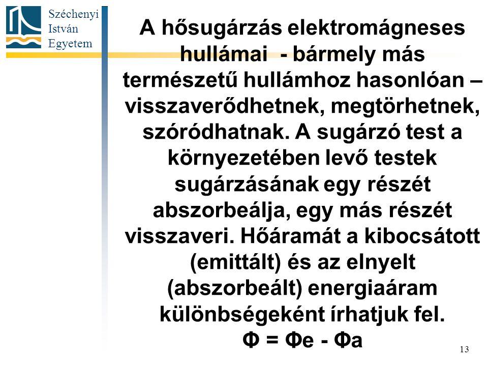 Széchenyi István Egyetem 13 A hősugárzás elektromágneses hullámai - bármely más természetű hullámhoz hasonlóan – visszaverődhetnek, megtörhetnek, szóródhatnak.