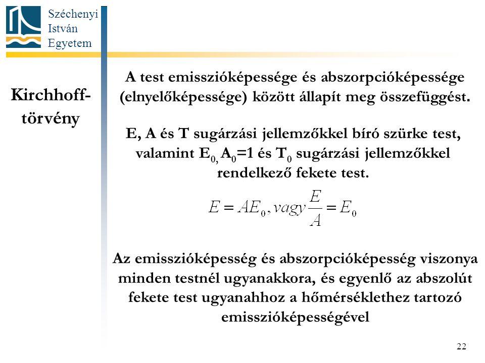 Széchenyi István Egyetem 22 Kirchhoff- törvény A test emisszióképessége és abszorpcióképessége (elnyelőképessége) között állapít meg összefüggést.