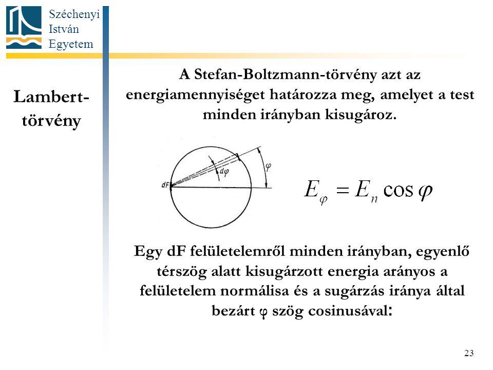 Széchenyi István Egyetem 23 Lambert- törvény A Stefan-Boltzmann-törvény azt az energiamennyiséget határozza meg, amelyet a test minden irányban kisugároz.