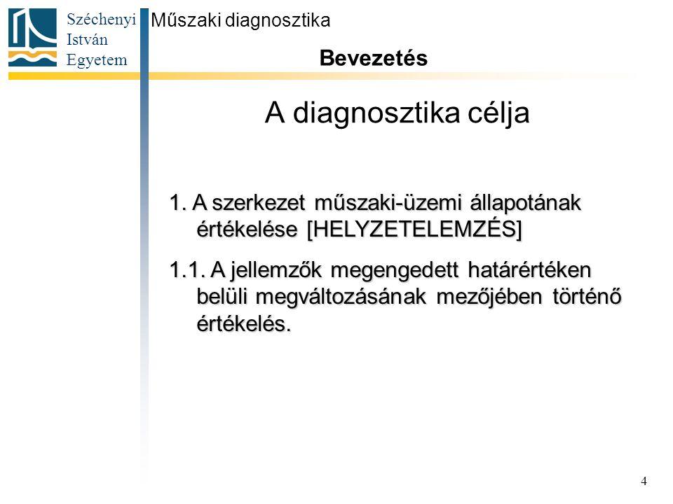 Széchenyi István Egyetem 4 A diagnosztika célja Műszaki diagnosztika Bevezetés 1. A szerkezet műszaki-üzemi állapotának értékelése [HELYZETELEMZÉS] 1.