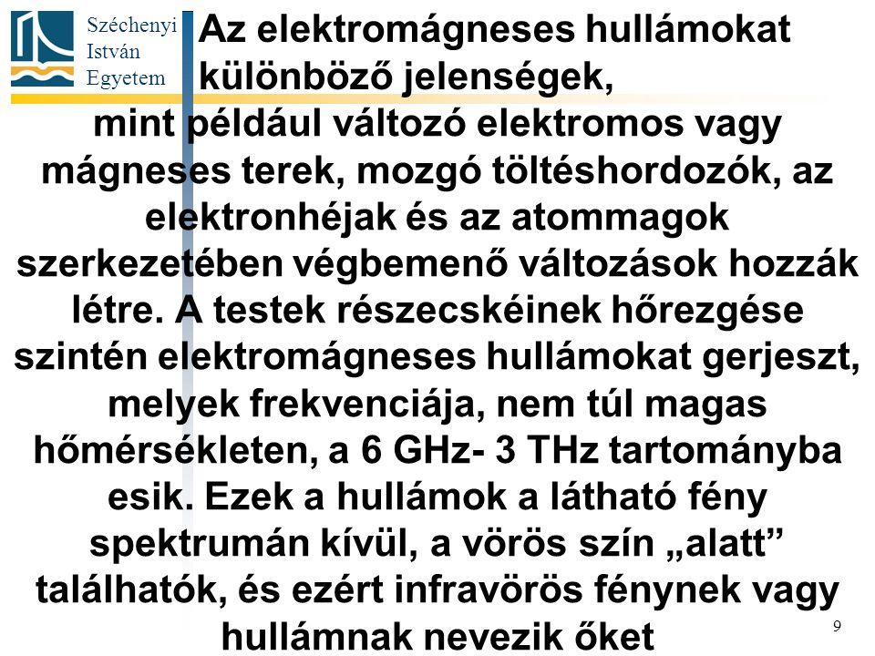 Széchenyi István Egyetem 9 mint például változó elektromos vagy mágneses terek, mozgó töltéshordozók, az elektronhéjak és az atommagok szerkezetében végbemenő változások hozzák létre.