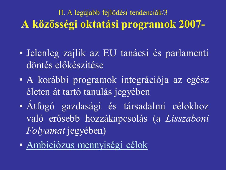 II. A legújabb fejlődési tendenciák/3 A közösségi oktatási programok 2007- Jelenleg zajlik az EU tanácsi és parlamenti döntés előkészítése A korábbi p