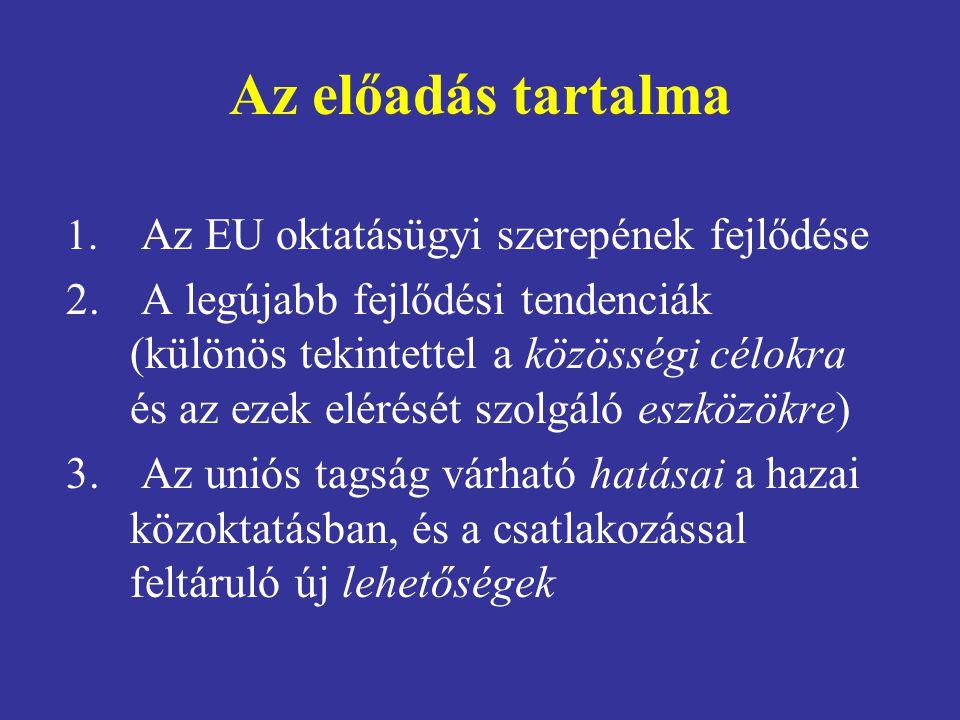 Az előadás tartalma 1. Az EU oktatásügyi szerepének fejlődése 2. A legújabb fejlődési tendenciák (különös tekintettel a közösségi célokra és az ezek e