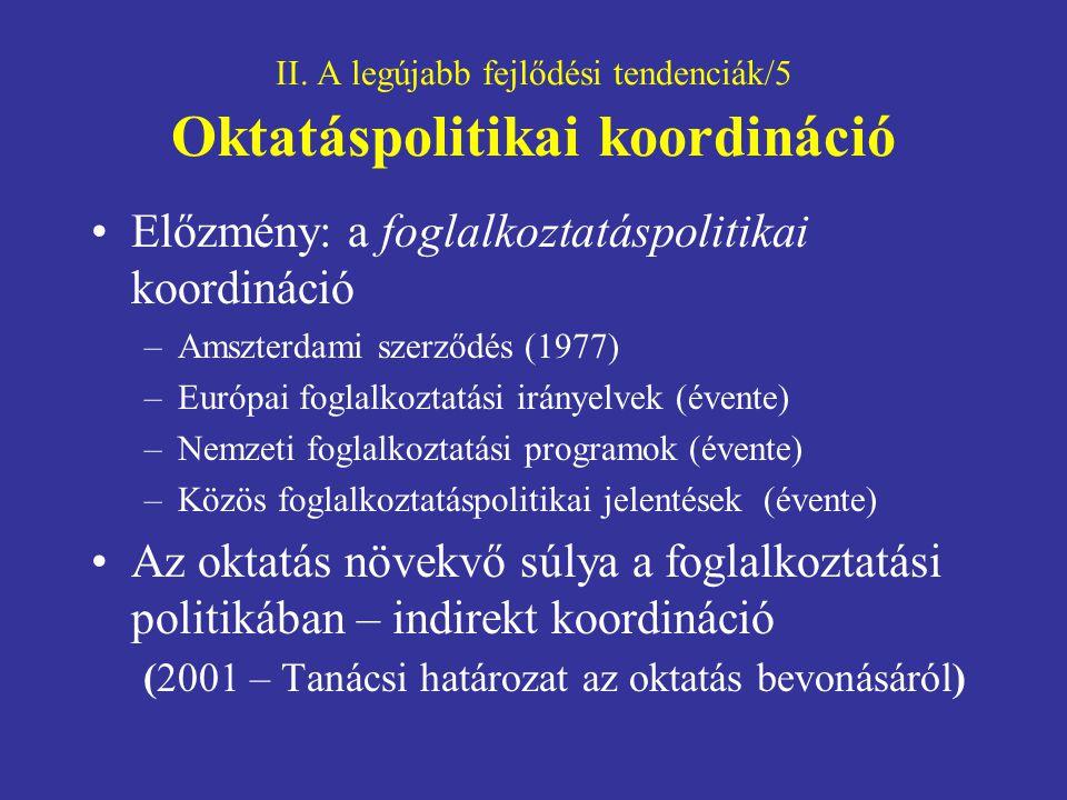 II. A legújabb fejlődési tendenciák/5 Oktatáspolitikai koordináció Előzmény: a foglalkoztatáspolitikai koordináció –Amszterdami szerződés (1977) –Euró