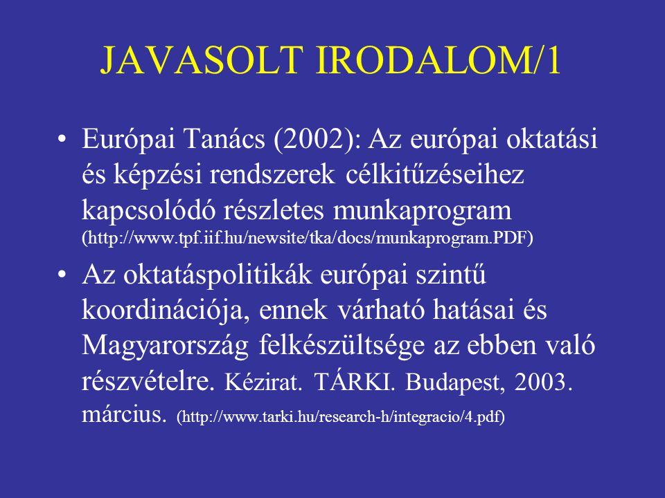 JAVASOLT IRODALOM/1 Európai Tanács (2002): Az európai oktatási és képzési rendszerek célkitűzéseihez kapcsolódó részletes munkaprogram (http://www.tpf