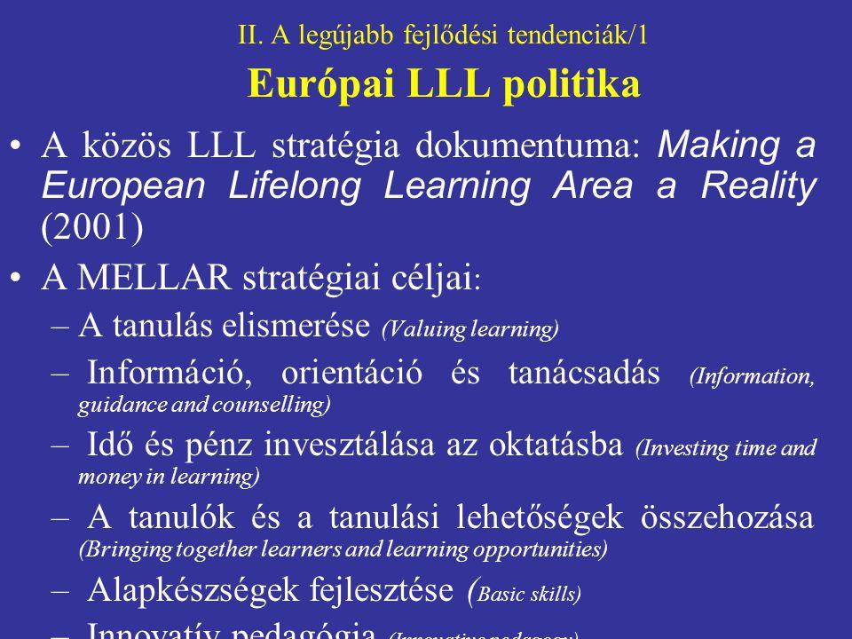 II. A legújabb fejlődési tendenciák/1 Európai LLL politika A közös LLL stratégia dokumentuma: Making a European Lifelong Learning Area a Reality (2001