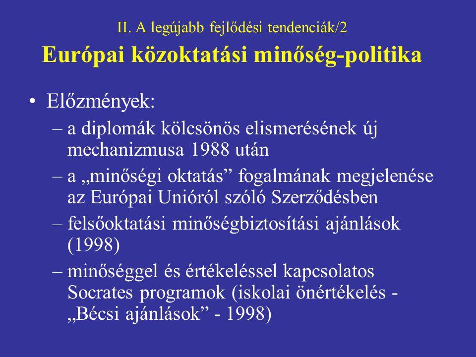 II. A legújabb fejlődési tendenciák/2 Európai közoktatási minőség-politika Előzmények: –a diplomák kölcsönös elismerésének új mechanizmusa 1988 után –