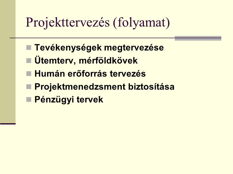 Döntés a projektkoncepcióról Pályázati kiírásnak való megfelelés Szervezeti igényeknek, céloknak való megfelelés Koncepció megalapozottsága, döntéselő