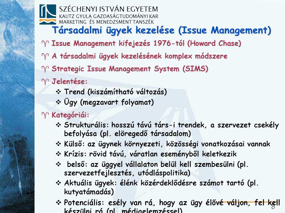 SZÉCHENYI ISTVÁN EGYETEM KAUTZ GYULA GAZDASÁGTUDOMÁNYI KAR MARKETING ÉS MENEDZSMENT TANSZÉK 8 Társadalmi ügyek kezelése (Issue Management) ^Issue Management kifejezés 1976-tól (Howard Chase) ^A társadalmi ügyek kezelésének komplex módszere ^Strategic Issue Management System (SIMS) ^Jelentése: vTrend (kiszámítható változás) vÜgy (megzavart folyamat) ^Kategóriái: vStrukturális: hosszú távú társ-i trendek, a szervezet csekély befolyása (pl.