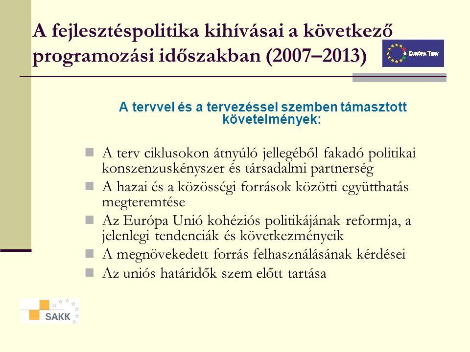 Az Európa Terv (2007-2013) 1 STRATÉGIA 4 STRA- TÉGIAI TENGELY 8 STRA- TÉGIAI FŐIRÁNY 16 STRA- TÉGIAI IRÁNY ET AT OT IT GF VF KF TF C. Versenykésség A.