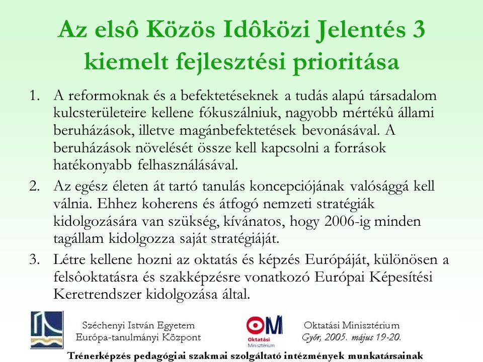 Az elsô Közös Idôközi Jelentés 3 kiemelt fejlesztési prioritása 1.A reformoknak és a befektetéseknek a tudás alapú társadalom kulcsterületeire kellene fókuszálniuk, nagyobb mértékû állami beruházások, illetve magánbefektetések bevonásával.