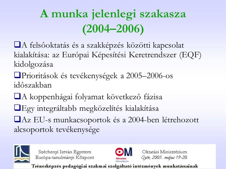 A munka jelenlegi szakasza (2004–2006)  A felsôoktatás és a szakképzés közötti kapcsolat kialakítása: az Európai Képesítési Keretrendszer (EQF) kidolgozása  Prioritások és tevékenységek a 2005–2006-os idôszakban  A koppenhágai folyamat következô fázisa  Egy integráltabb megközelítés kialakítása  Az EU-s munkacsoportok és a 2004-ben létrehozott alcsoportok tevékenysége