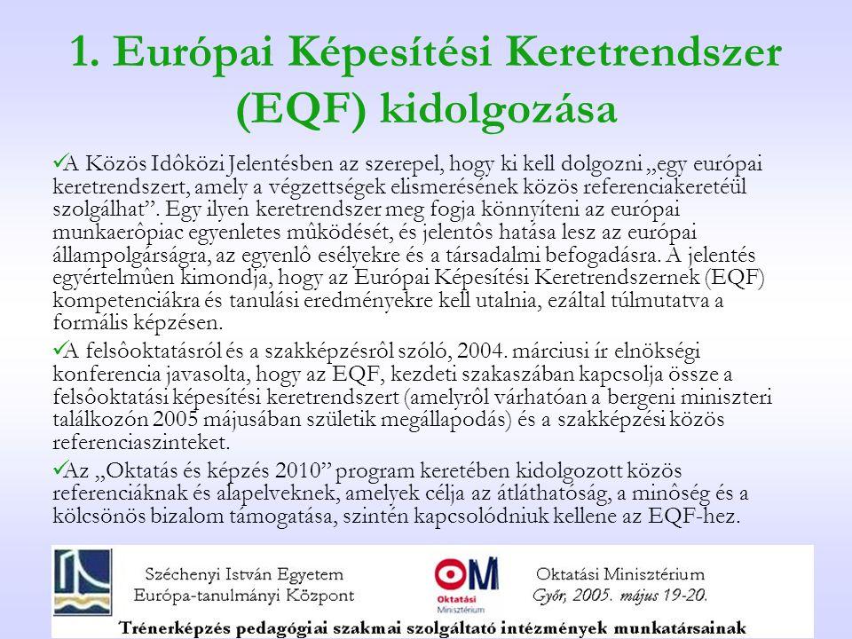 """1. Európai Képesítési Keretrendszer (EQF) kidolgozása A Közös Idôközi Jelentésben az szerepel, hogy ki kell dolgozni """"egy európai keretrendszert, amel"""