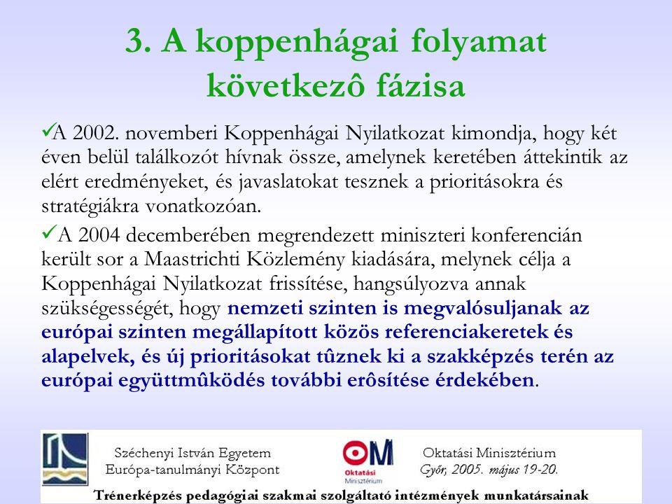 3. A koppenhágai folyamat következô fázisa A 2002.
