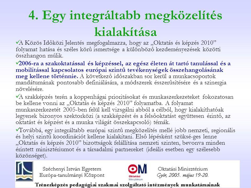 """4. Egy integráltabb megközelítés kialakítása A Közös Idôközi Jelentés megfogalmazza, hogy az """"Oktatás és képzés 2010"""" folyamat hatása és széles körû i"""