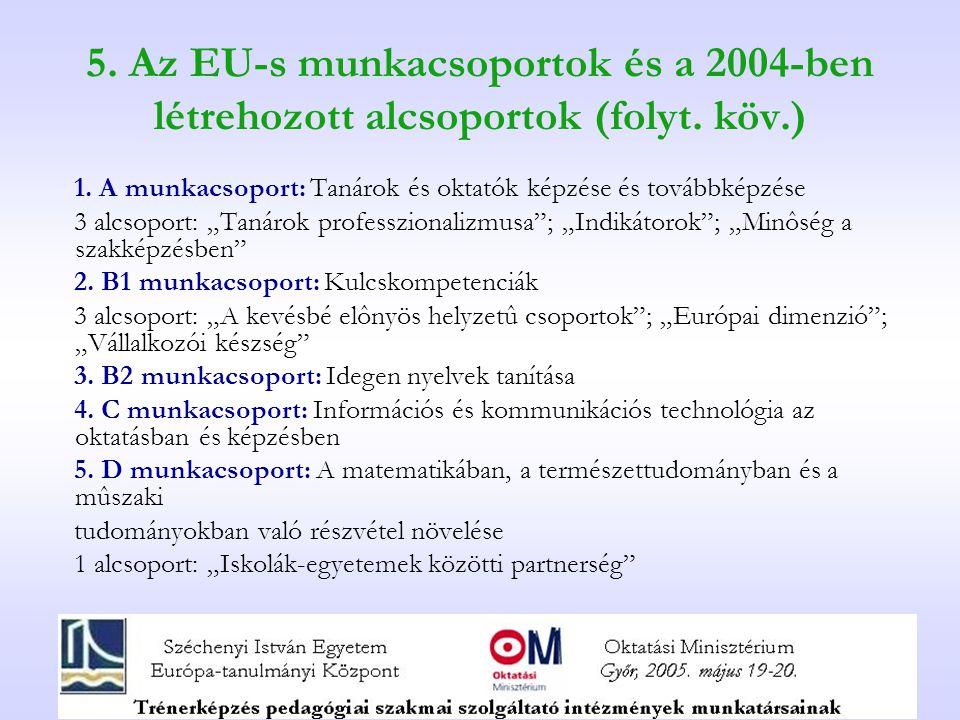 5. Az EU-s munkacsoportok és a 2004-ben létrehozott alcsoportok (folyt.