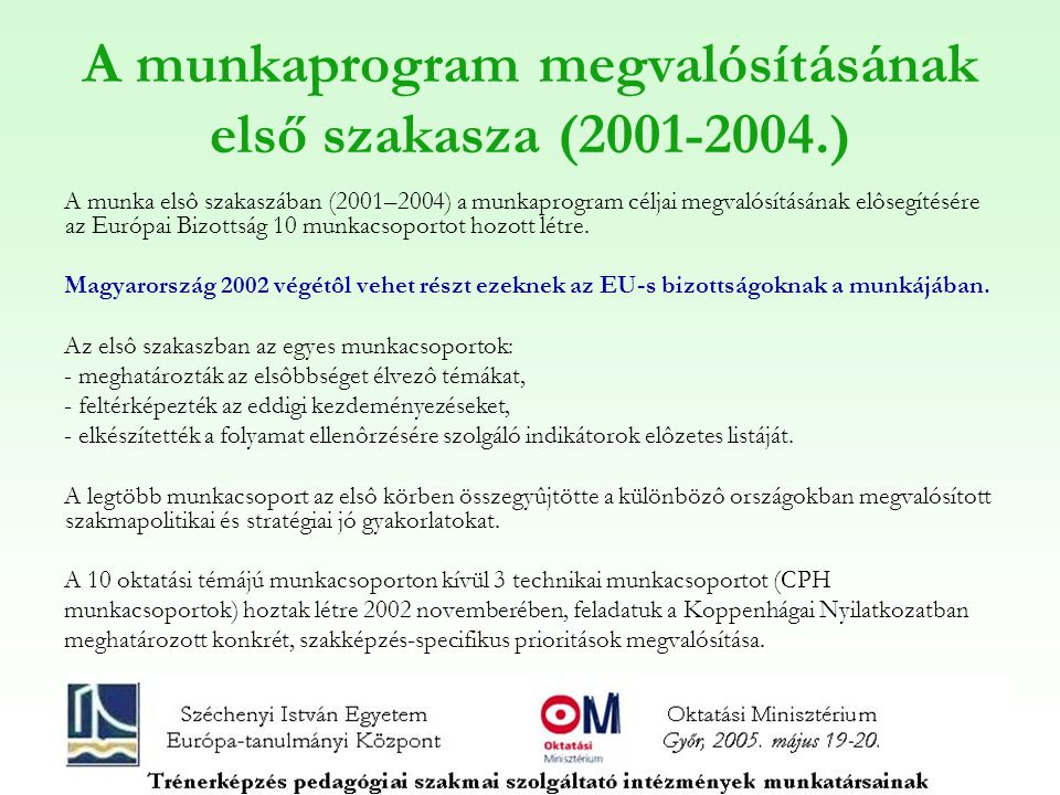 A munkaprogram megvalósításának első szakasza (2001-2004.) A munka elsô szakaszában (2001–2004) a munkaprogram céljai megvalósításának elôsegítésére az Európai Bizottság 10 munkacsoportot hozott létre.