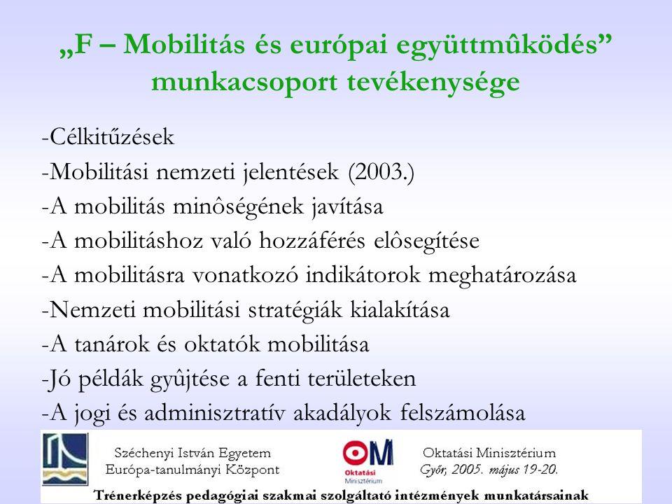 """""""F – Mobilitás és európai együttmûködés munkacsoport tevékenysége -Célkitűzések -Mobilitási nemzeti jelentések (2003.) -A mobilitás minôségének javítása -A mobilitáshoz való hozzáférés elôsegítése -A mobilitásra vonatkozó indikátorok meghatározása -Nemzeti mobilitási stratégiák kialakítása -A tanárok és oktatók mobilitása -Jó példák gyûjtése a fenti területeken -A jogi és adminisztratív akadályok felszámolása"""