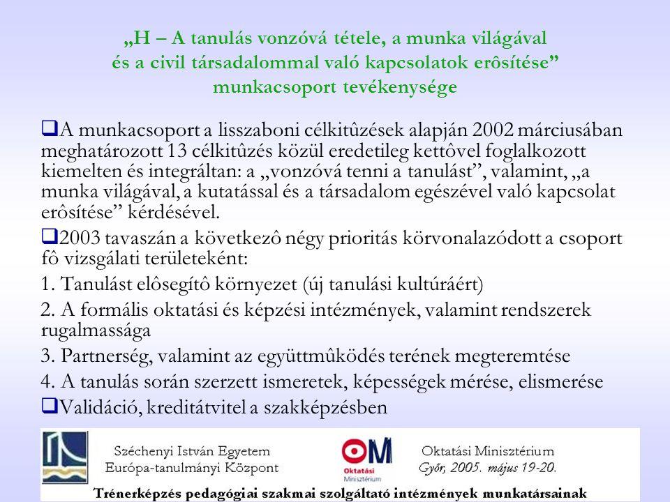 """""""H – A tanulás vonzóvá tétele, a munka világával és a civil társadalommal való kapcsolatok erôsítése munkacsoport tevékenysége  A munkacsoport a lisszaboni célkitûzések alapján 2002 márciusában meghatározott 13 célkitûzés közül eredetileg kettôvel foglalkozott kiemelten és integráltan: a """"vonzóvá tenni a tanulást , valamint, """"a munka világával, a kutatással és a társadalom egészével való kapcsolat erôsítése kérdésével."""