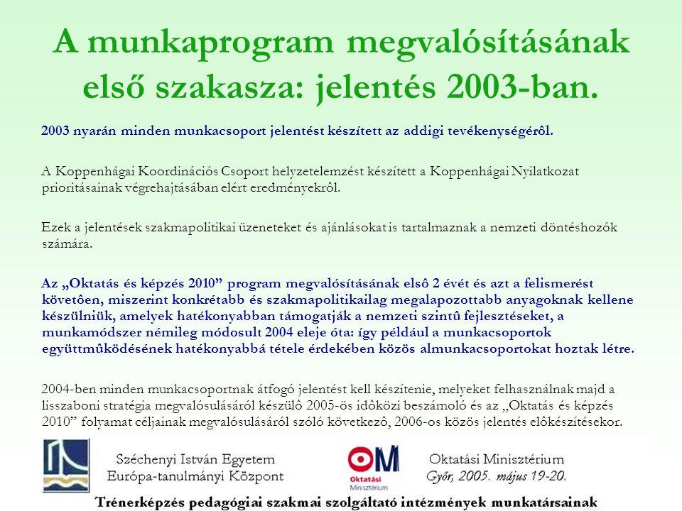 A munkaprogram megvalósításának első szakaszának eredményei 1.Európai definíciók, alapelvek, kritériumok 2.Szakmapolitikai ajánlások 3.Jó szakmapolitikai gyakorlatokkal kapcsolatos anyagok 4.Az indikátorokkal kapcsolatos munka