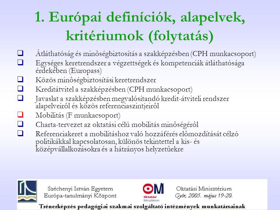 1. Európai definíciók, alapelvek, kritériumok (folytatás)  Átláthatóság és minôségbiztosítás a szakképzésben (CPH munkacsoport)  Egységes keretrends
