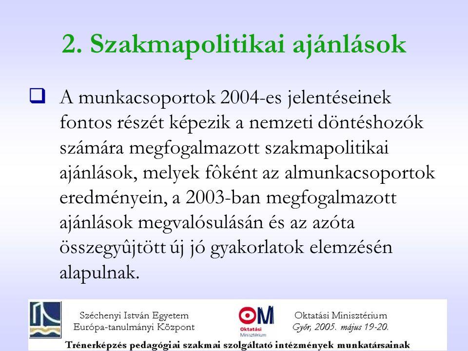 2. Szakmapolitikai ajánlások  A munkacsoportok 2004-es jelentéseinek fontos részét képezik a nemzeti döntéshozók számára megfogalmazott szakmapolitik