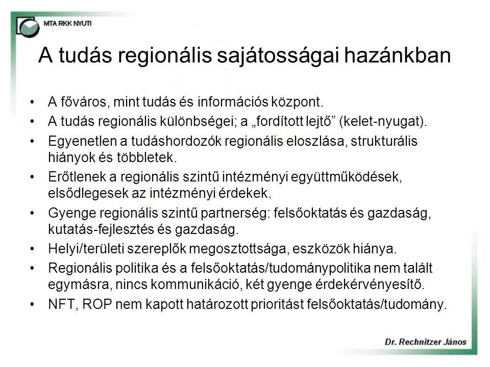 """A tudás regionális sajátosságai hazánkban A főváros, mint tudás és információs központ. A tudás regionális különbségei; a """"fordított lejtő"""" (kelet-nyu"""