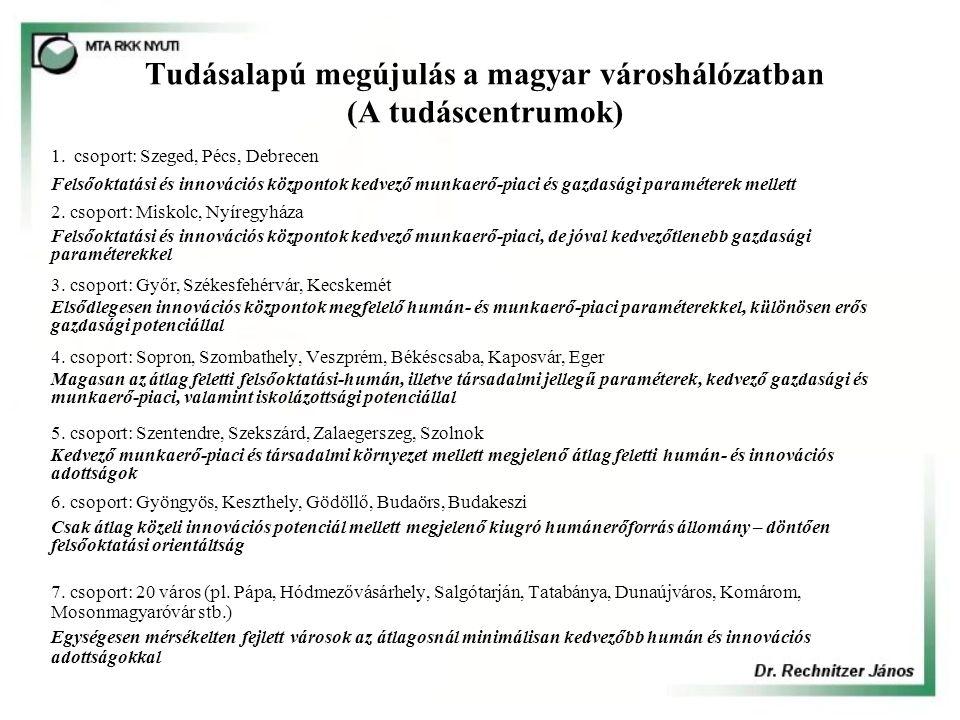 Tudásalapú megújulás a magyar városhálózatban (A tudáscentrumok) 1. csoport: Szeged, Pécs, Debrecen Felsőoktatási és innovációs központok kedvező munk
