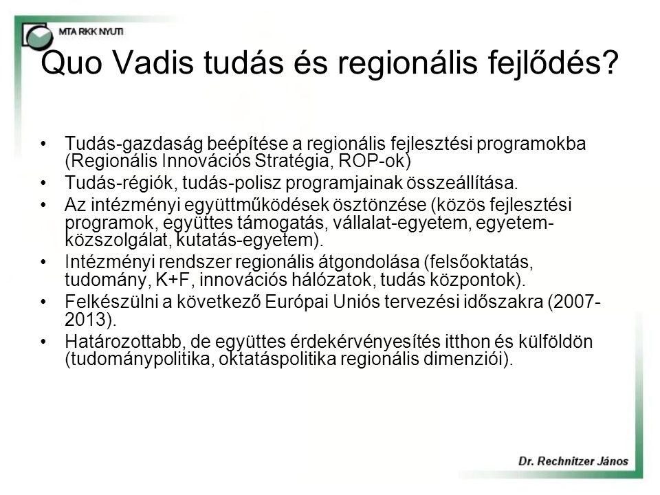 Quo Vadis tudás és regionális fejlődés? Tudás-gazdaság beépítése a regionális fejlesztési programokba (Regionális Innovációs Stratégia, ROP-ok) Tudás-