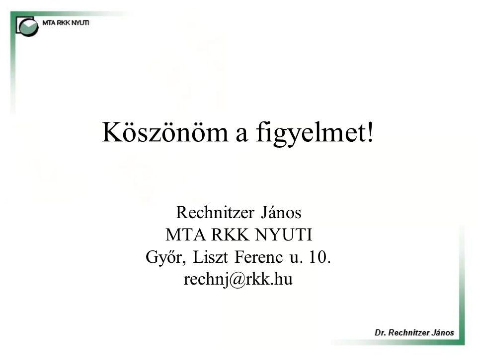 Köszönöm a figyelmet! Rechnitzer János MTA RKK NYUTI Győr, Liszt Ferenc u. 10. rechnj@rkk.hu