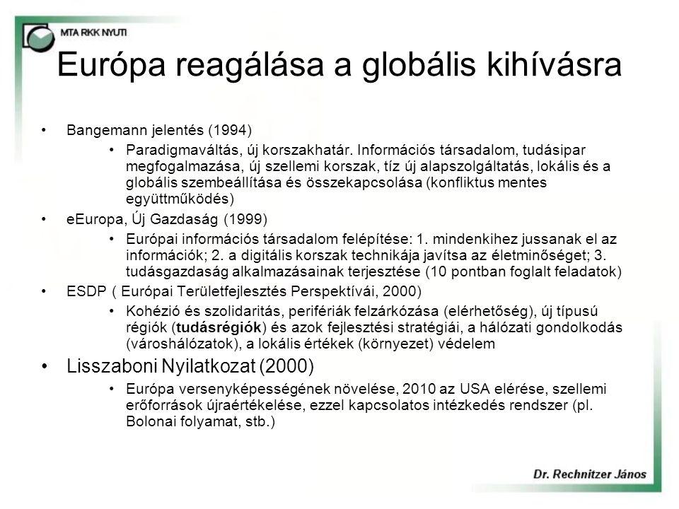 Európa reagálása a globális kihívásra Bangemann jelentés (1994) Paradigmaváltás, új korszakhatár. Információs társadalom, tudásipar megfogalmazása, új