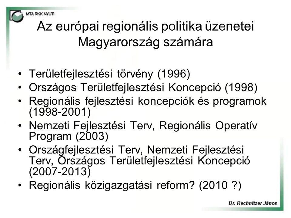 Az európai regionális politika üzenetei Magyarország számára Területfejlesztési törvény (1996) Országos Területfejlesztési Koncepció (1998) Regionális