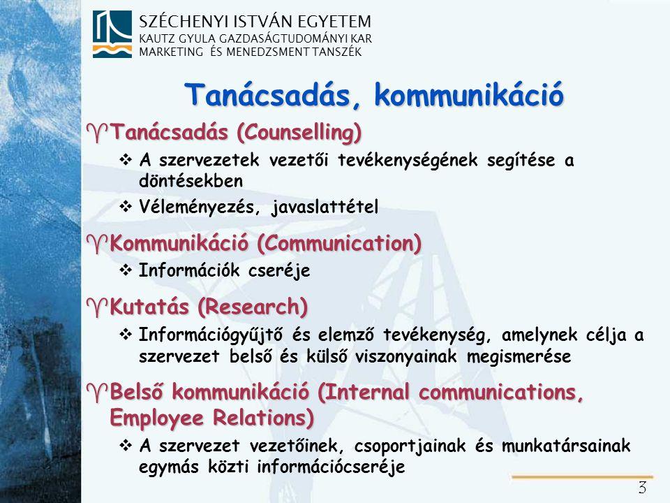 SZÉCHENYI ISTVÁN EGYETEM KAUTZ GYULA GAZDASÁGTUDOMÁNYI KAR MARKETING ÉS MENEDZSMENT TANSZÉK 4 Személyes kapcsolatok, külső kapcsolatok ^Személyes kapcsolatok (Human Relations) vAz egyének közötti kommunikáció alakítása ^Külső kapcsolatok (External Reations) vA szervezet teljes külső kapcsolatával kialakított kommunikációs kapcsolatok szervezése, a további kategóriák gyűjtőneve) w Nonprofit, profit, corporate, marketing PR w ágazati, szakmai, pénzügyi kapcsolatok w támogatás, társadalmi ügyek kezelése w kisebbségi, kormányzati, közösségi és médiakapcsolatok