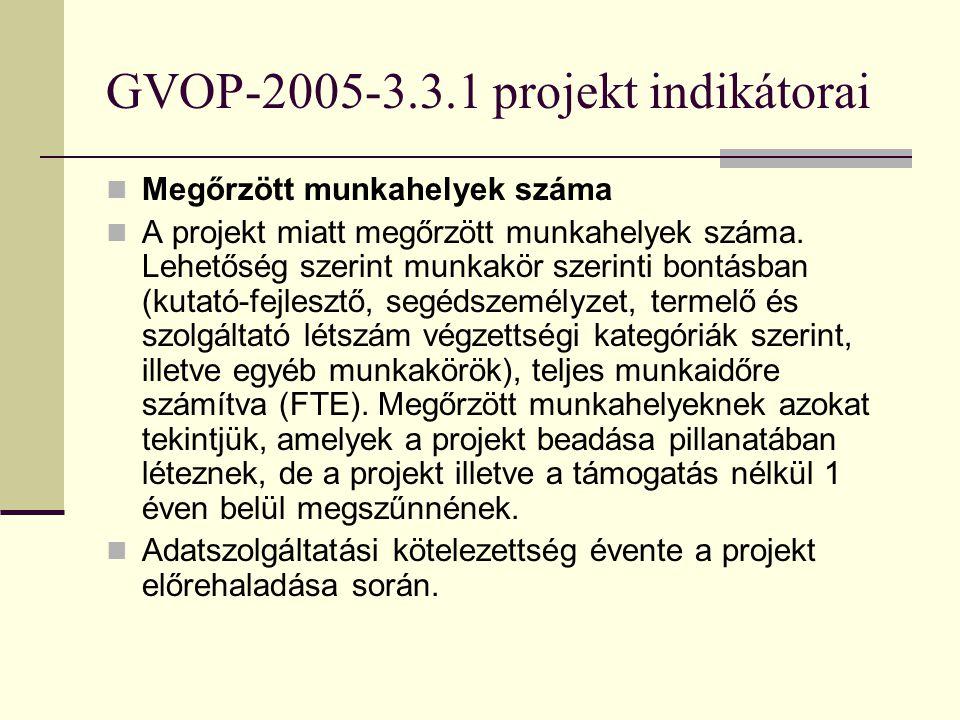 GVOP-2005-3.3.1 projekt indikátorai Létrehozott munkahelyek száma A projekt során létrehozott munkahelyek száma. Lehetőség szerint munkakör szerinti b