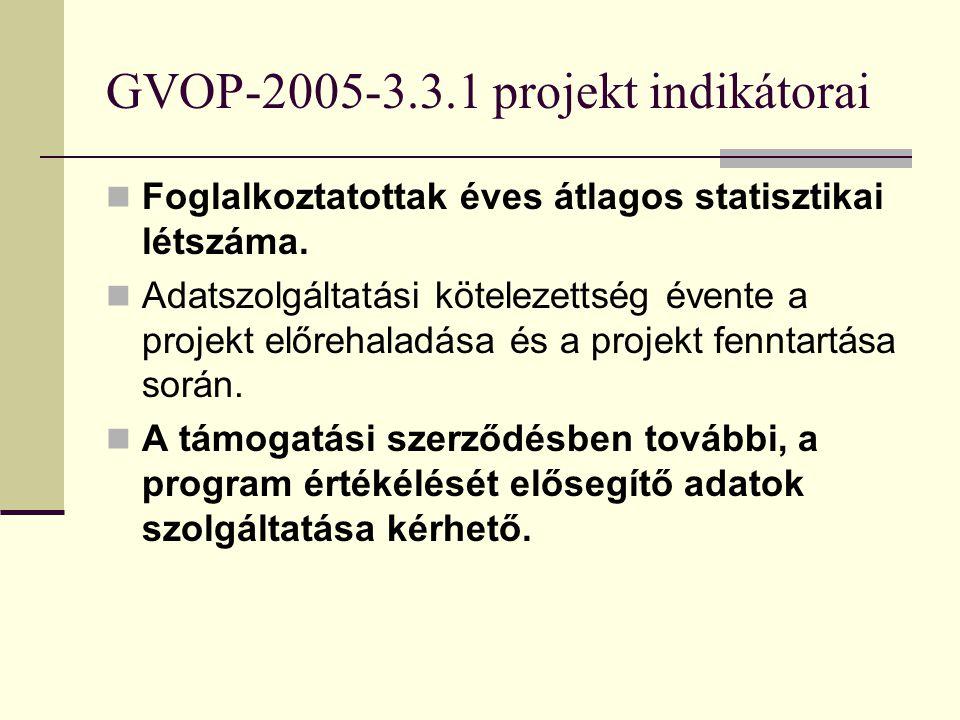 GVOP-2005-3.3.1 projekt indikátorai Megőrzött munkahelyek száma A projekt miatt megőrzött munkahelyek száma. Lehetőség szerint munkakör szerinti bontá