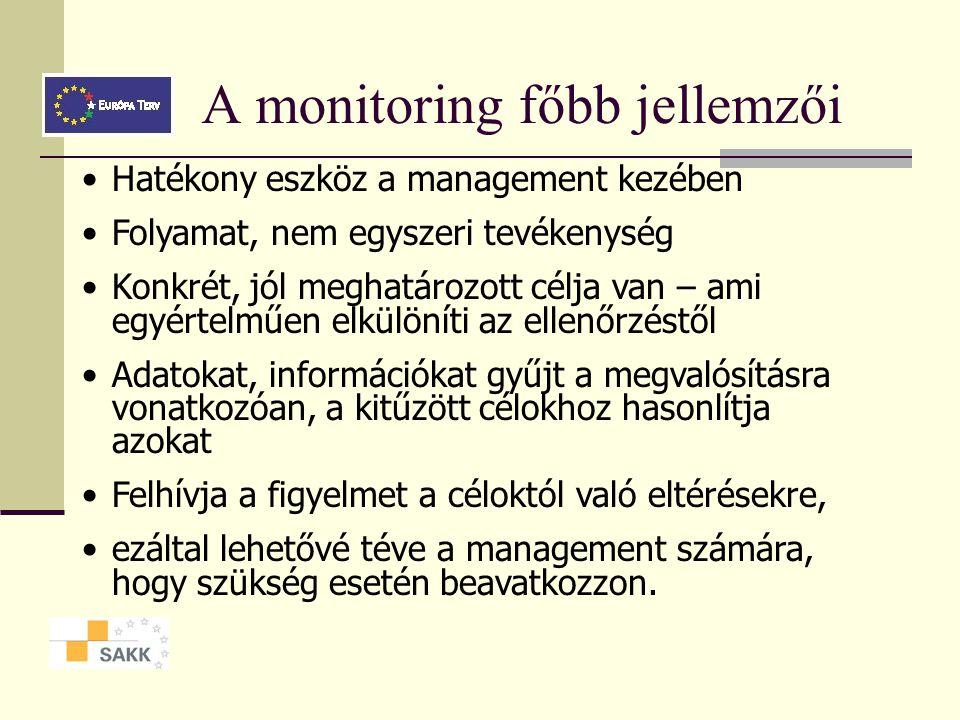 Projektek monitoringja Monitoring - értékelés - ellenőrzés A monitoring folyamatos adatgyűjt é sen alapszik, amely alapj á n a menedzsment vizsg á lha