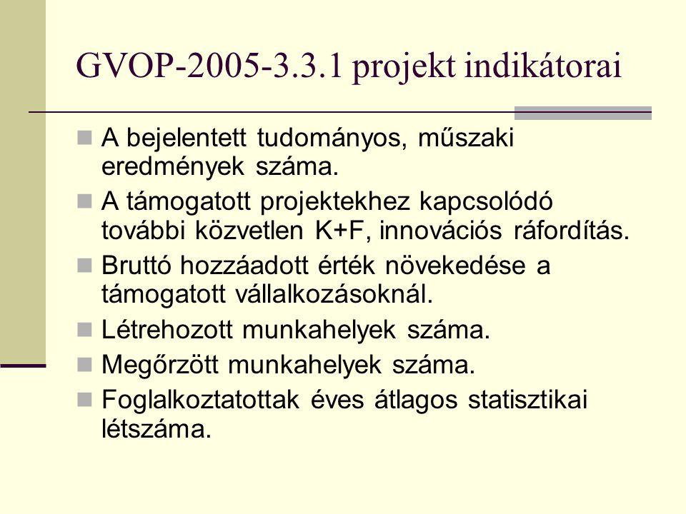 GVOP-2005-3.3.1 projekt indikátorai A bejelentett tudományos, műszaki eredmények száma.