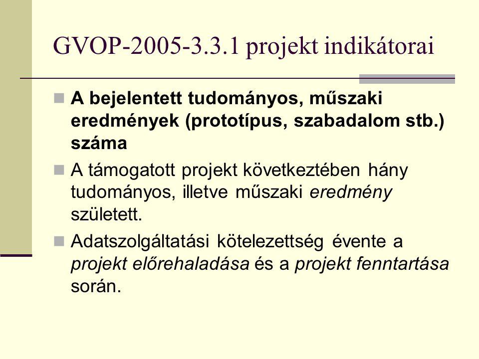 GVOP-2005-3.3.1 projekt indikátorai A bejelentett tudományos, műszaki eredmények száma. A támogatott projektekhez kapcsolódó további közvetlen K+F, in