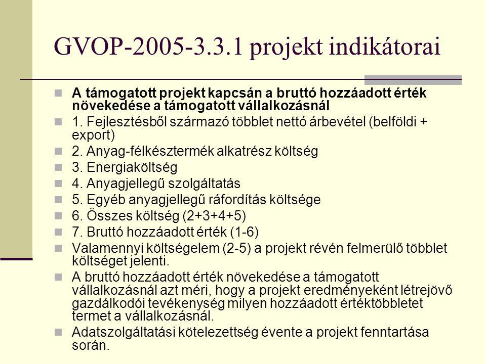 GVOP-2005-3.3.1 projekt indikátorai A támogatott projekthez kapcsolódó további közvetlen K+F, innovációs ráfordítások A támogatáshoz kapcsolódó, a pro
