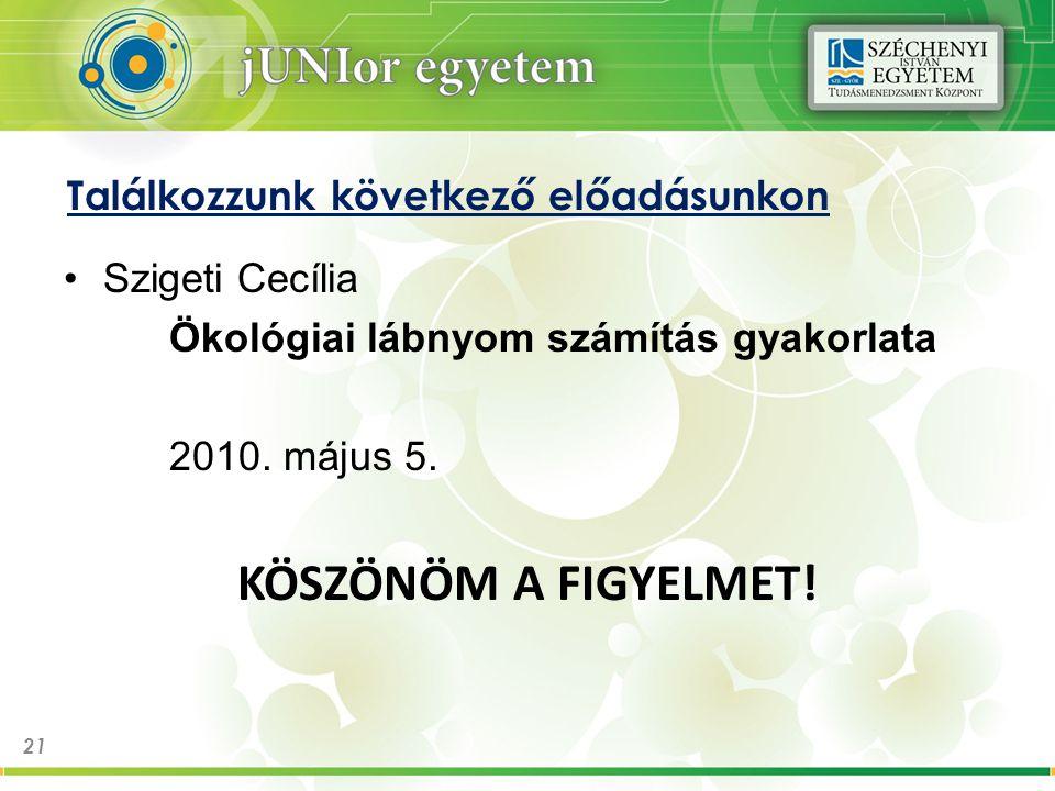 Találkozzunk következő előadásunkon Szigeti Cecília Ökológiai lábnyom számítás gyakorlata 2010.