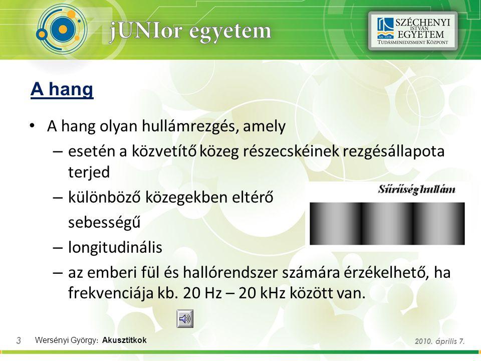 A hang A hang olyan hullámrezgés, amely – esetén a közvetítő közeg részecskéinek rezgésállapota terjed – különböző közegekben eltérő sebességű – longi