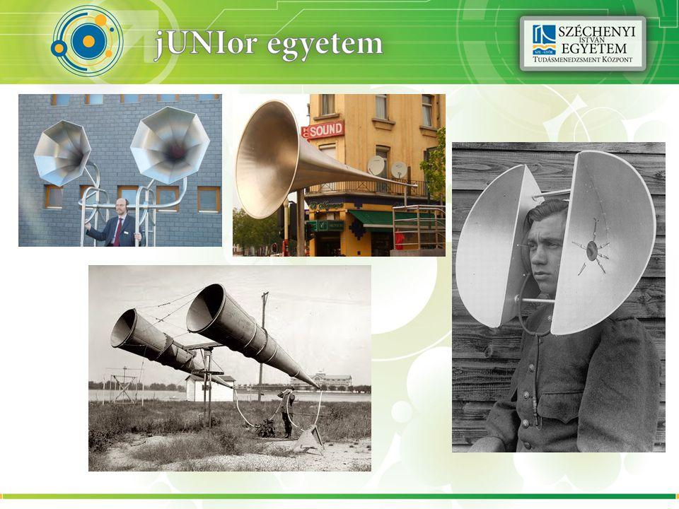 Doppler-hat á s Példa: 150 méter távolságból indulva, elmegy 50 m/s-al az 1 kHz-es hang 25 méterre előttünk Az észlelt frekvencia f, a kibocsátott f 0 akkor: ahol v a hangsebesség a közegben v r a megfigyelő relatív sebessége a közeghez képest; pozitív, ha a megfigyelő a forrás felé mozog.