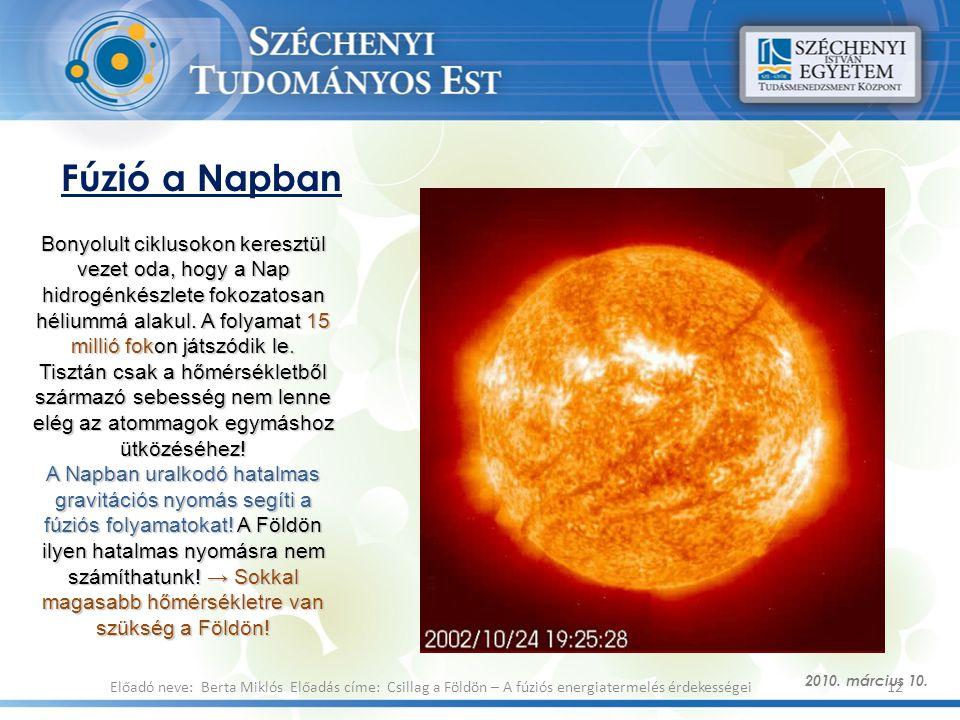 Fúzió a Napban 2010. március 10. 12Előadó neve: Berta Miklós Előadás címe: Csillag a Földön – A fúziós energiatermelés érdekességei Bonyolult ciklusok