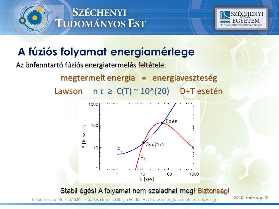 A fúziós folyamat energiamérlege Az önfenntartó fúziós energiatermelés feltétele: megtermelt energia = energiaveszteség Lawson n τ ≥ C(T) ~ 10^(20) D+