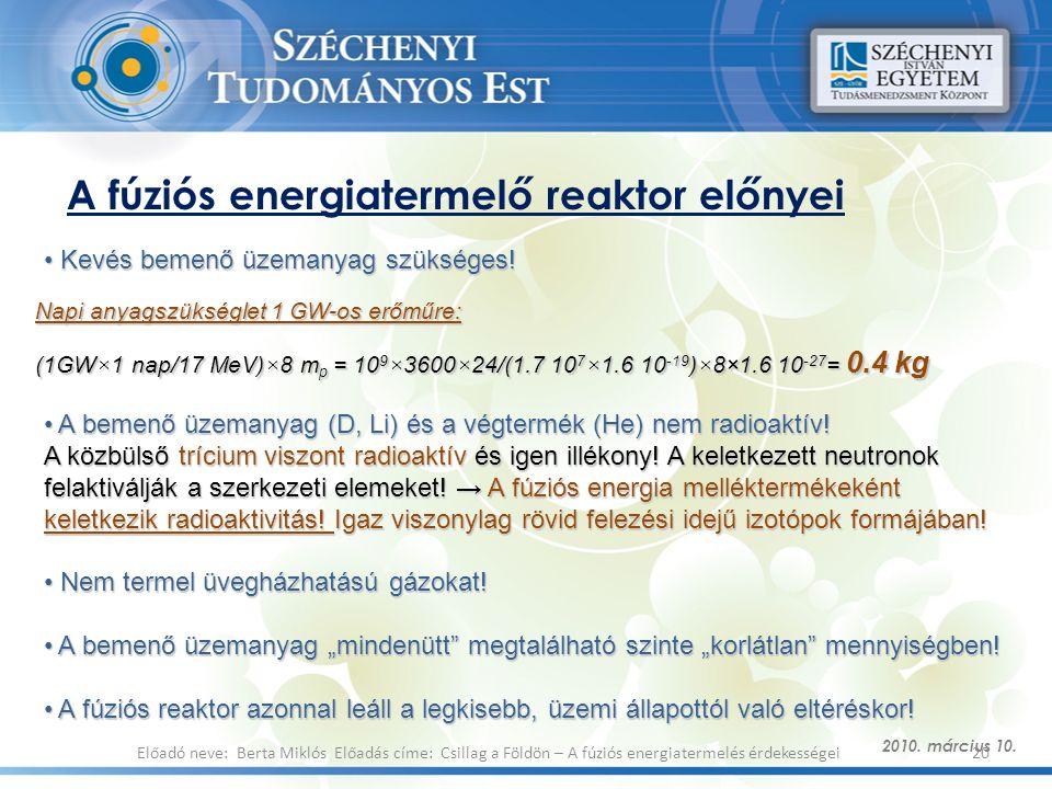 A fúziós energiatermelő reaktor előnyei 2010. március 10. 20Előadó neve: Berta Miklós Előadás címe: Csillag a Földön – A fúziós energiatermelés érdeke