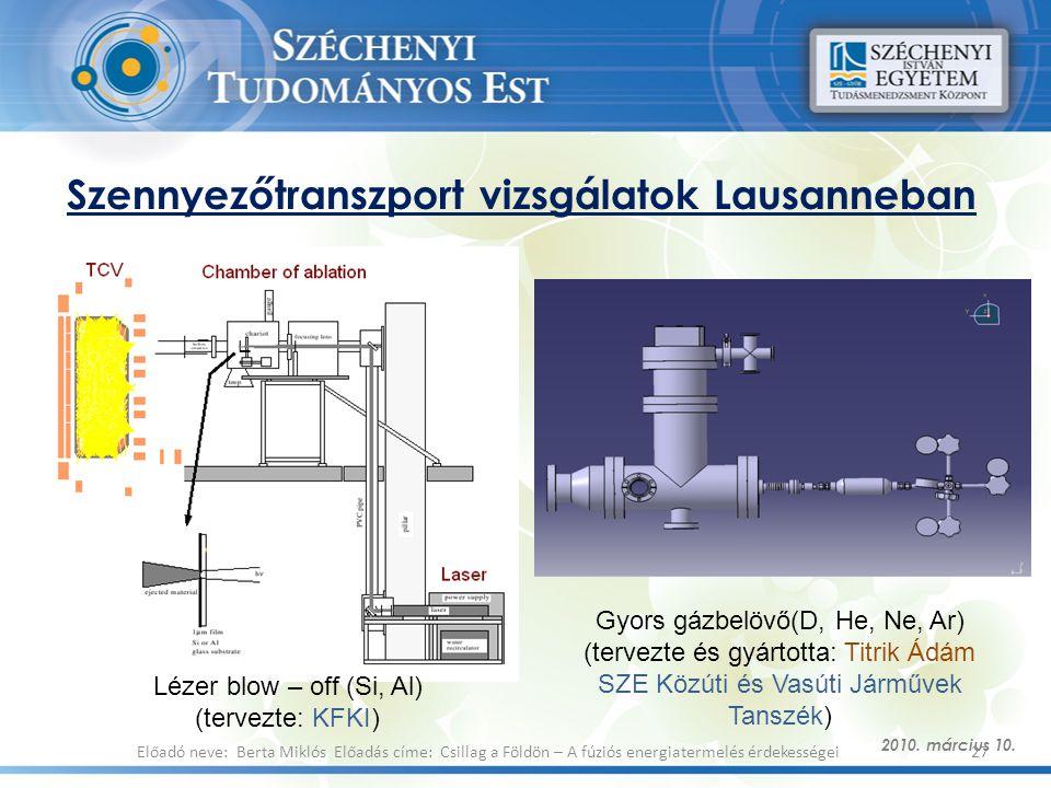 Szennyezőtranszport vizsgálatok Lausanneban 2010. március 10. 27Előadó neve: Berta Miklós Előadás címe: Csillag a Földön – A fúziós energiatermelés ér