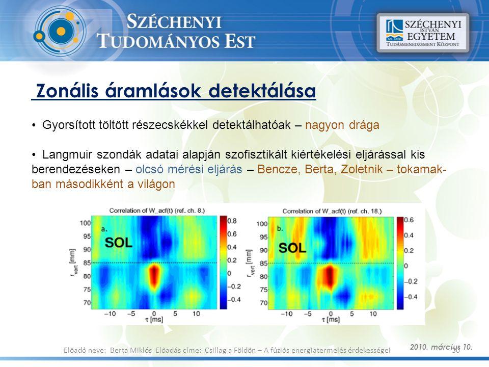Zonális áramlások detektálása 2010. március 10. 30Előadó neve: Berta Miklós Előadás címe: Csillag a Földön – A fúziós energiatermelés érdekességei Gyo