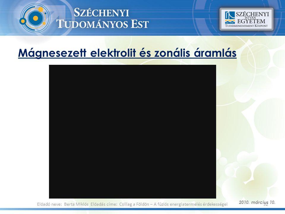 Mágnesezett elektrolit és zonális áramlás 2010. március 10. 32Előadó neve: Berta Miklós Előadás címe: Csillag a Földön – A fúziós energiatermelés érde