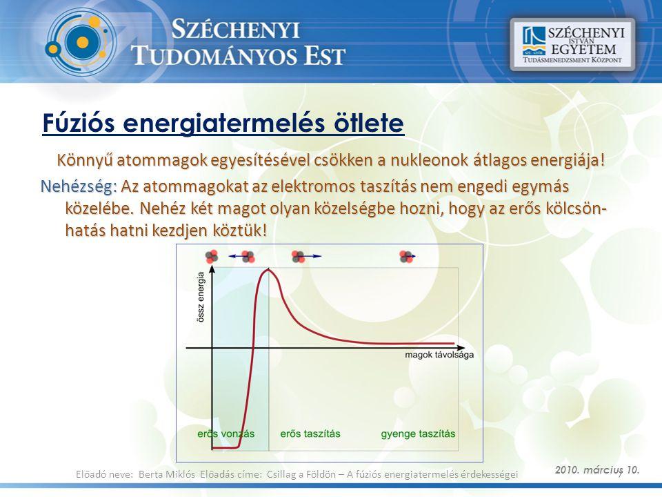 Fúziós energiatermelés ötlete Könnyű atommagok egyesítésével csökken a nukleonok átlagos energiája! Nehézség: Az atommagokat az elektromos taszítás ne